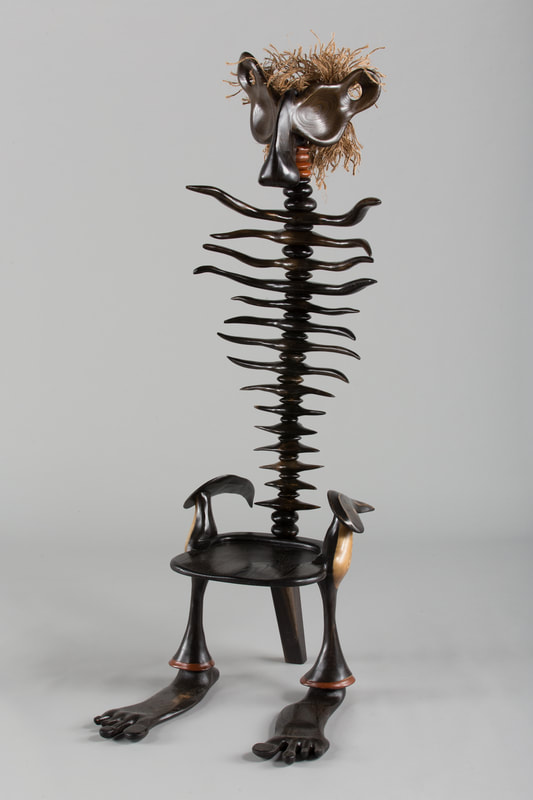 Tall Carved Whimsical Chair, Made To Protect The Occupant From Evil. Made  Of Blackened Oak, Mulberry And Lacewood.